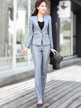 Ericdress Long Sleeve One Button Slim Blazer Suit
