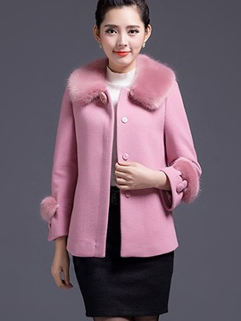 Ericdress Single-Breasted Faux Fur Collar Loose Coat