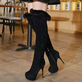 Ericdress Suede Platform Furry Thigh High Boots