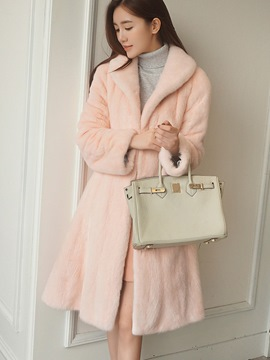 Ericdress Slim Solid Color Lady Coat