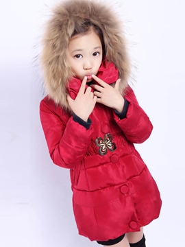 Ericdress Solid Color Hooded Belt Girls Down Coat