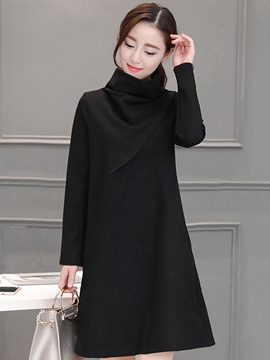 Ericdress Turtleneck Patchwork Plain Casual Dress