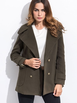 Ericdress Solid Color Loose Turn-Down Coat