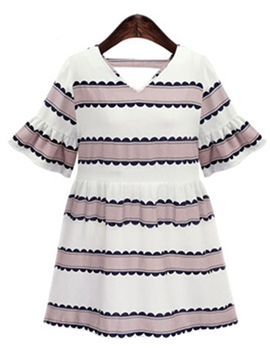 Ericdress Strip V-Neck Ruffle Sleeve Casual Dress