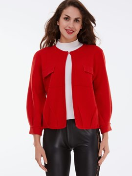 Ericdress Red Caridigan Knitwear