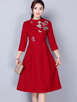Ericdress Butterfly Appliques Knee-Length Casual Dress