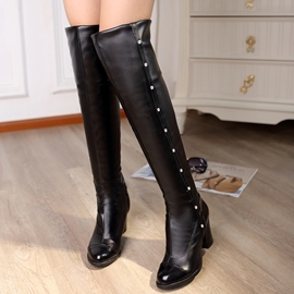 Ericdress PU Patchwork Rivets Over Knee High Boots