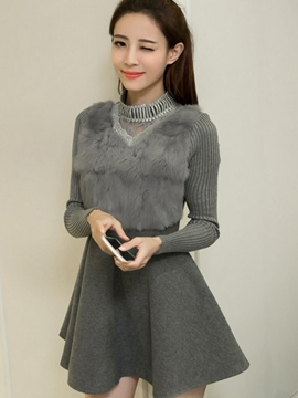 Ericdress Turtleneck Furry Vest Patchwork Pleated Casual Dress
