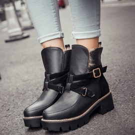 Ericdress Fashion Buckles Square Heel Ankle Boots