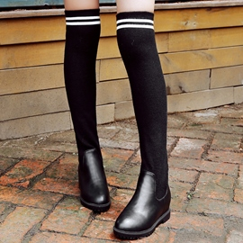 Ericdress Kintting Patchwork Thigh High Boots