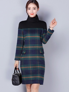 Ericdress Turtleneck Strip Patchwork Sheath Dress