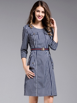 Ericdress Strip Pocket Belt Sheath Dress