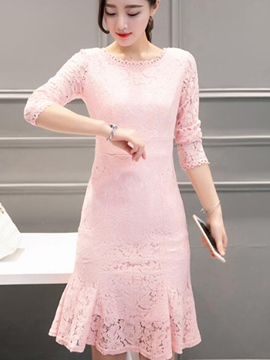 Ericdress Hollow Patchwork Mermaid Lace Dress