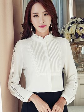Ericdress White Stand Collar Blouse