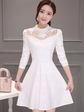 Ericdress Lace Hollow Patchwork Pleated Three-Quarter Sleeve Casual Dress