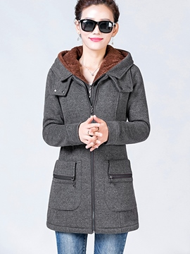 Ericdress Solid Color Fleece Slim Hoodie