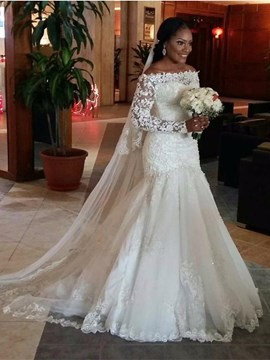 Ericdress Elegant Off The Shoulder Long Sleeves Mermaid Wedding Dress
