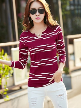 Ericdress Stripe Korean Style Slim T-Shirt
