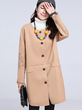Ericdress Loose Printed Casual Trench Coat