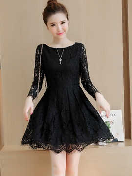 Ericdress Solid Color Falbala Hollow Lace Dress