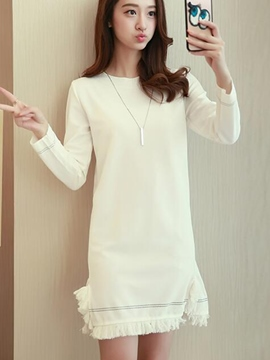 Ericdress Tassel Plain Round Collar Casual Dress
