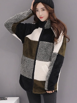 Ericdress Color Block Round Neck Loose Hoodie