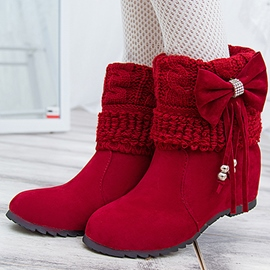 Sweet Bowknot Tassels Suede Ankle Boots