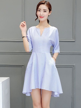 Ericdress V-Neck Strip Print Pleated Casual Dress