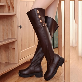 Ericdress Cool Rivets&buckles Over The Knee Boots