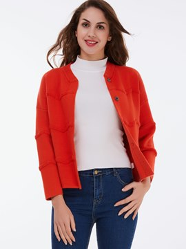 Ericdress Red Single-Breasted Casual Knitwear