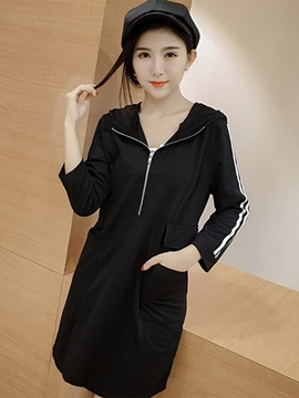 Ericdress Hooded Strip Appliques Zipper Casual Dress