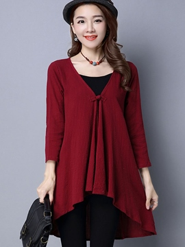 Ericdress Pleated V-Neck Loose T-Shirt