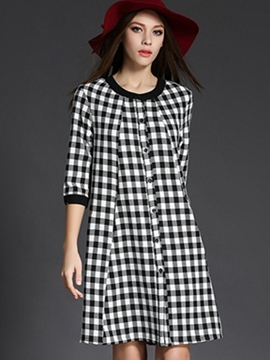 Ericdress Plaid Print Button Patchwork Casual Dress