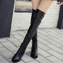 Ericdress Chic PU Square Heel Knee High Boots