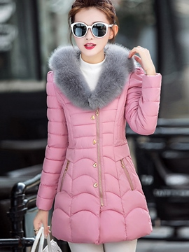 Ericdress Slim Faux Fur Collar Patchwork Coat
