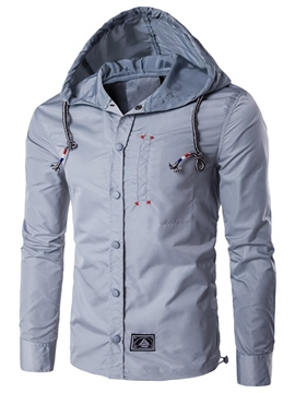 Ericdress Hood Single-Breasted Vogue Casual Men's Jacket
