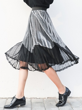 Ericdress Color Block Pleated Usual Skirt