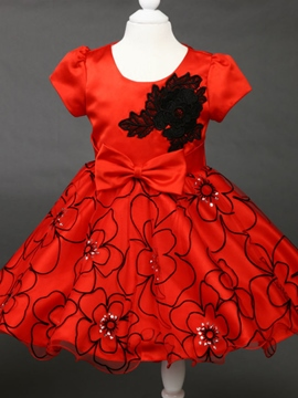 Ericdress Red Floral Bow Sleeveless Christmas Girls Dress