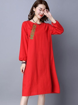 Ericdress Ethnic Embroidery Round Collar Loose Casual Dress