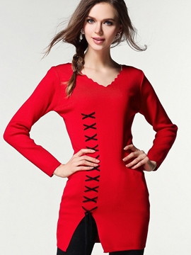 Ericdress Cross Line Detail Knitwear