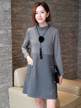Ericdress Stand Collar Strip Pocket Patchwork Casual Dress