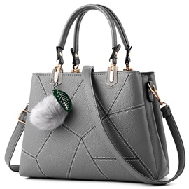 Ericdress Vogue Fuzzy Ball Patchwork Handbag