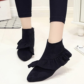 Ericdress Pretty Falbala Point Toe Ankle Boots