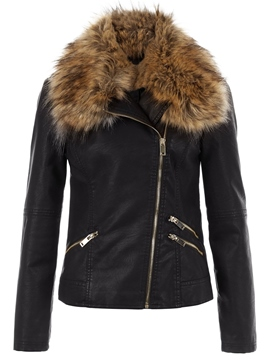 Ericdress Color Block Faux Fur Collar Asymmetric Jacket