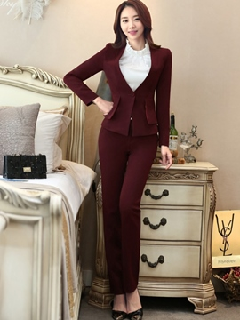 Ericdress Solid Color Blazer Two-Piece Formal Suit