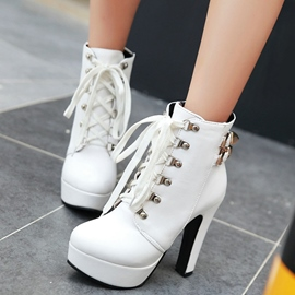 Ericdress Charming PU Platform Lace up High Heel Boots
