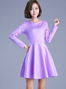 Ericdress Polka Dots Print Pleated Above Knee Casual Dress