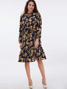 Ericdress Cowl-Neck Print Patchwork Casual Dress