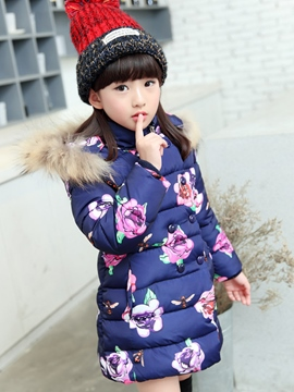 Ericdress Floral Print Double-Breasted Girls Down Coat
