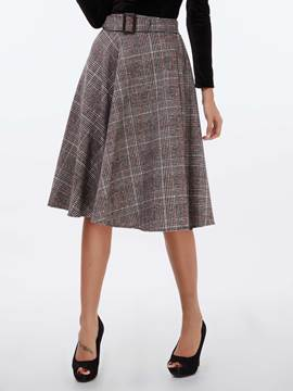 Ericdress Plaid A-Line Usual Skirt